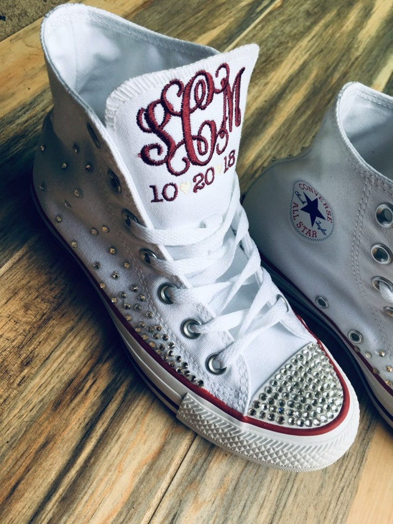 7087f63ac552 Bling Sneakers Bling wedding shoes monogrammed converse