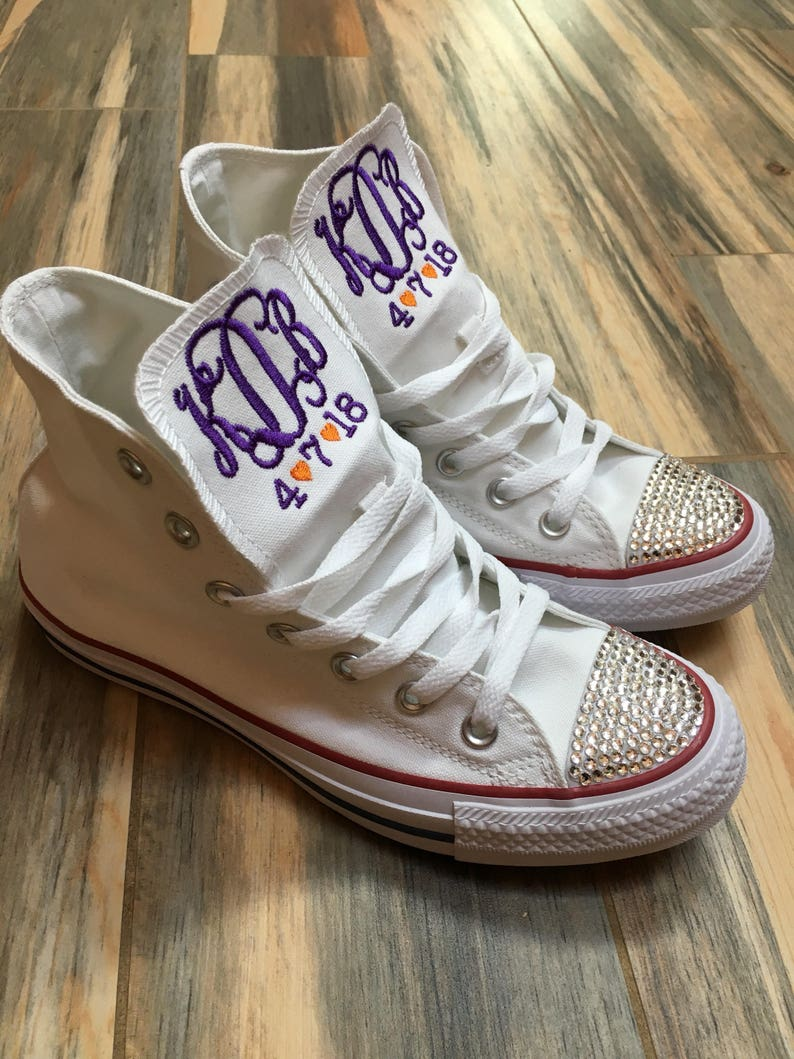 Embroidered Bride Wedding Monogrammed Converse Sneakers Etsy