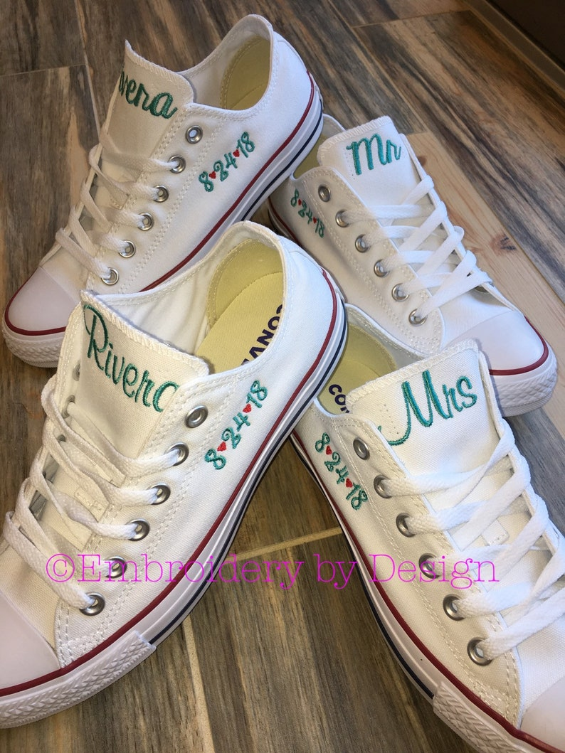0f855561bab4 Bride Shoes Groom shoes Wedding Embroidered Converse