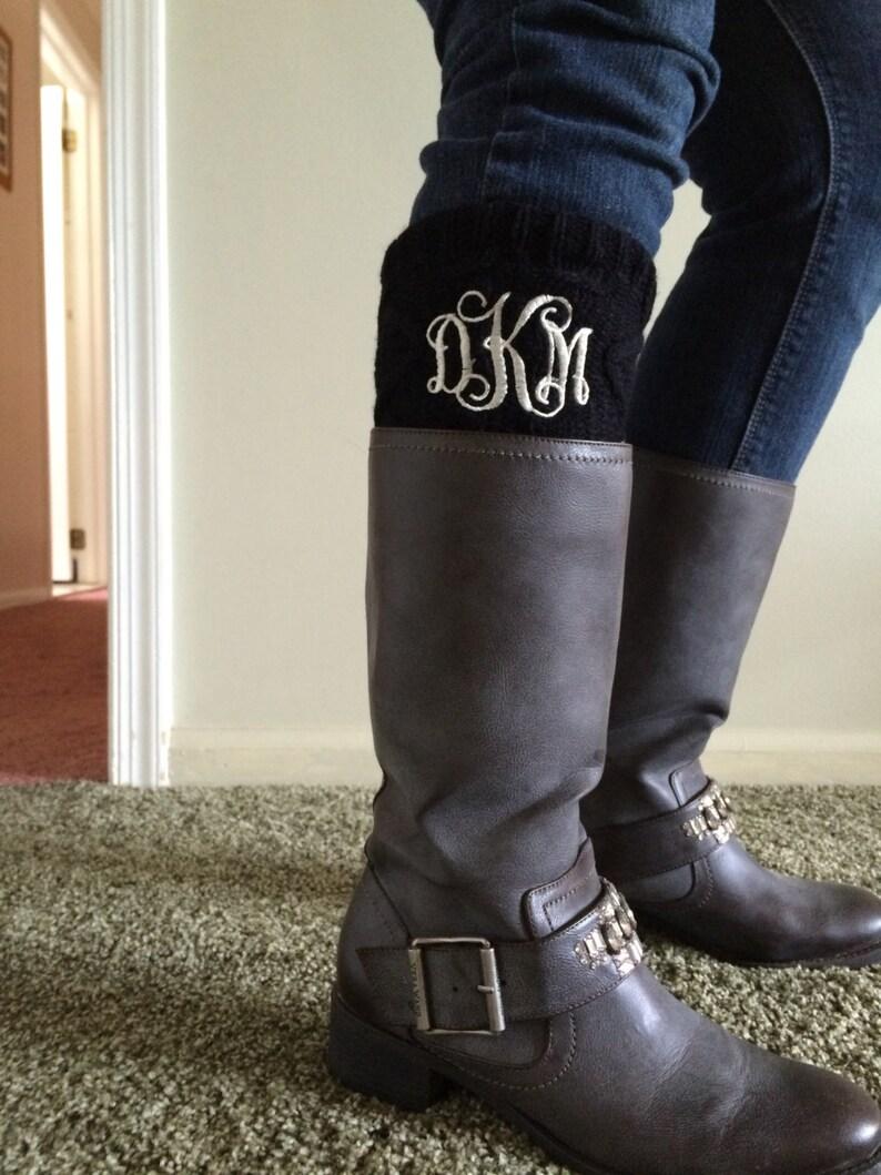 boot cuff Embroidered Monogrammed leg warmer