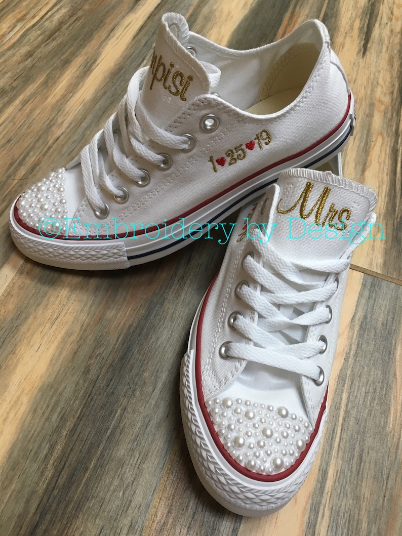 factory price d1d0c 01b5d Pearl Converse Bling Bride Shoes Groom shoes Wedding   Etsy