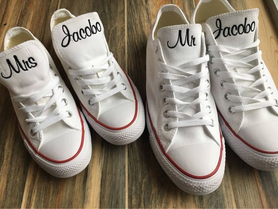 Bride Shoes, Wedding Embroidered Converse Sneakers. Groom sneakers, Bridal Party shoes,Decorated Converse (Low Top)