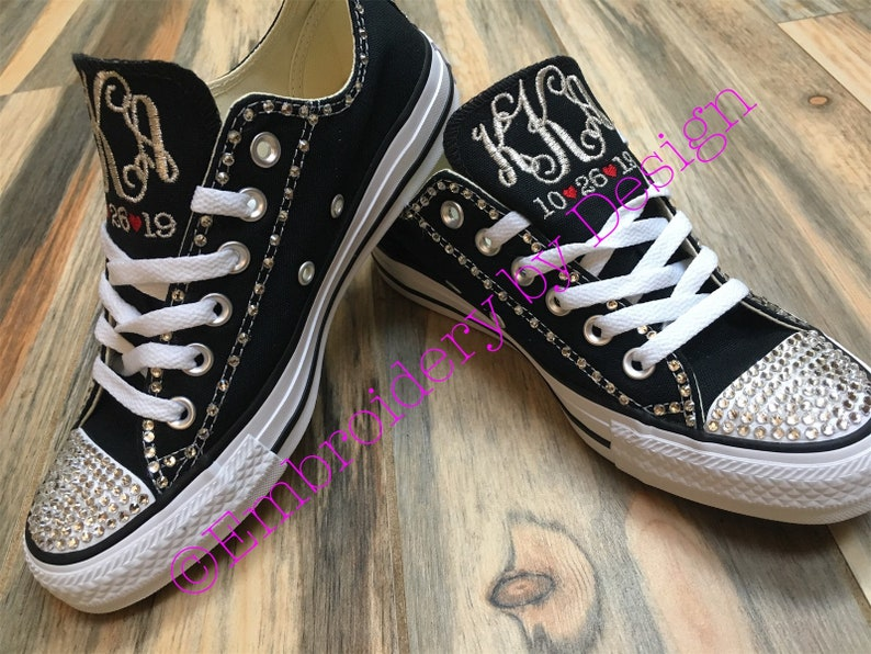Embroidered Converse Bling Wedding Shoes Monogrammed Etsy