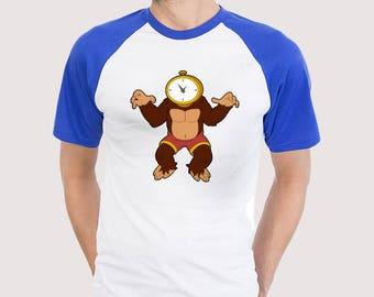 Time Ape Baseball T-shirt (royal blue & navy sleeves)