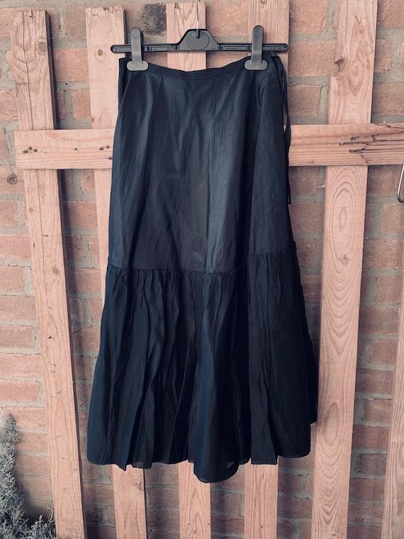 antique underskirt, black satin, long skirt, black