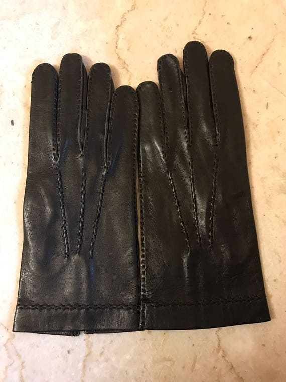 NOS  Size 8 black gloves, kid leather gloves, DEAD