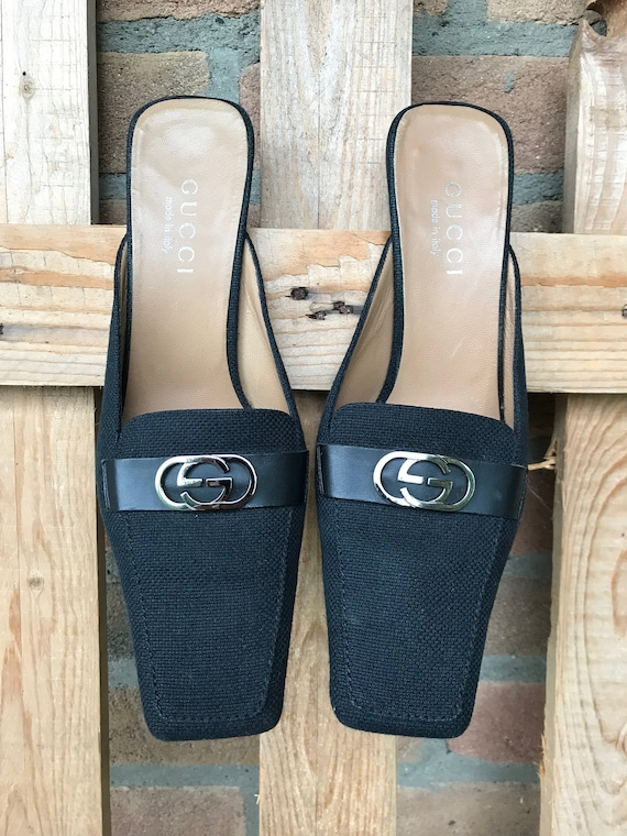 Gucci shoes, linen and leather, black, gucci mules