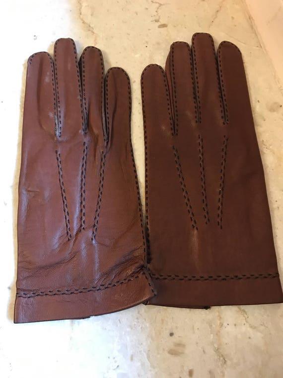 NOS  Size 7 1/2 tobacco gloves, kid leather gloves