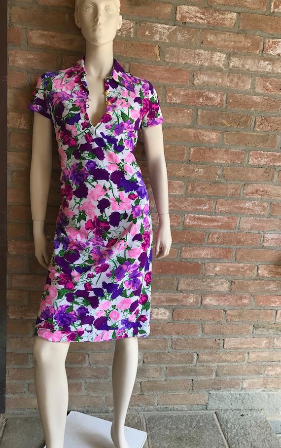 1970 Ken Scott vintage dress, Size M, vtg 10, colo