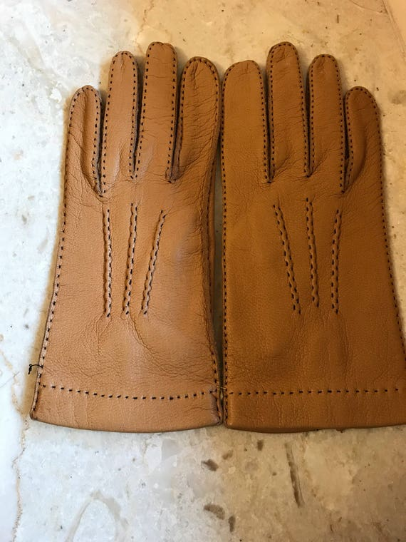 NOS Size 7 3/4 tan leather gloves, kid leather glo