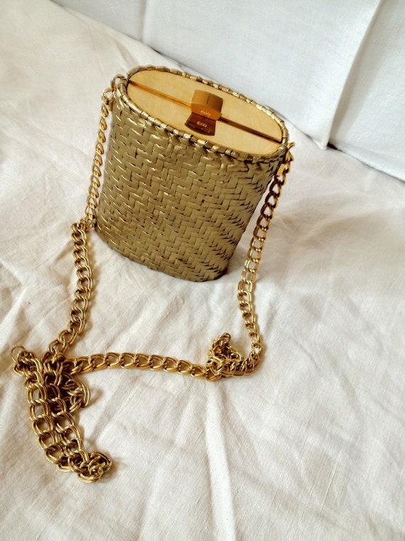RODO wicker handbag, gold chain purse, evening pur