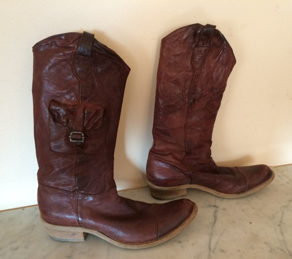 woman western boots, vintage leather boots,  stall