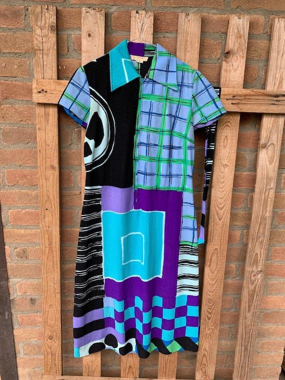 Ken Scott vintage dress, 70's dress, geometric pat