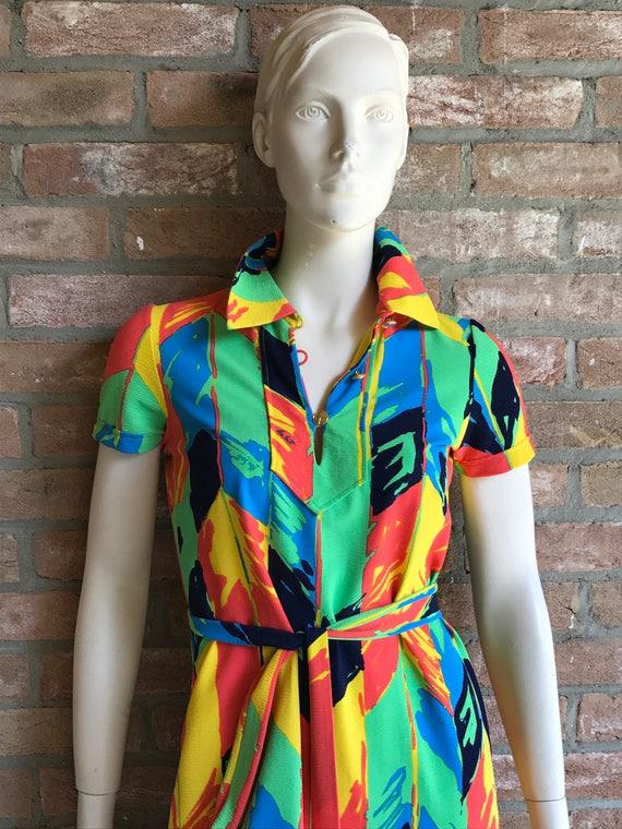 1960 Ken Scott dress,color block, Size S/M  vtg 10