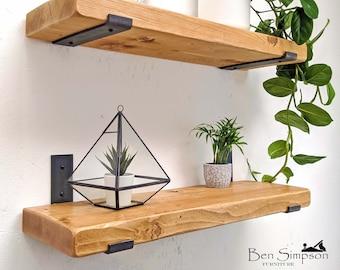 Rustic Shelves Handcrafted   Solid Wood & Inverted Metal Shelf Brackets   22cm Depth x 5cm Thickness   Ben Simpson Furniture