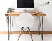 Hairpin Desk Dining Table Handcrafted Using Rustic Solid Wood 76cm Height Ben Simpson Furniture