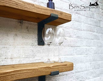 Rustic Shelves Shelf Industrial Chunky Metal Brackets Solid Wood 15cm Depth LB15