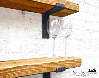 Rustic Shelves Handcrafted Using Solid Wood & Industrial Metal Shelf Brackets | 15cm Depth x 5cm Thickness | Ben Simpson Furniture