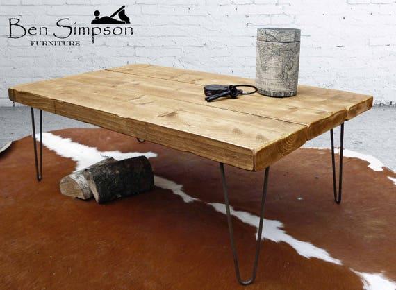 Mesa de centro rústica horquilla metálica Industrial madera