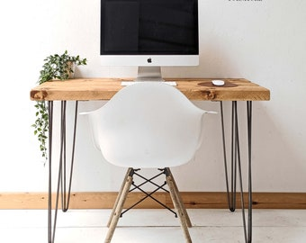 Hairpin Desk & Dining Table Handcrafted Using Rustic Solid Wood | 76cm Height | Ben Simpson Furniture
