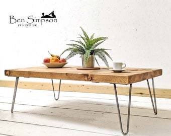Rustic Coffee Table With Industrial Hairpin Legs Handcrafted Using Sustainable Solid Wood | 35cm Height | Ben Simpson Furniture