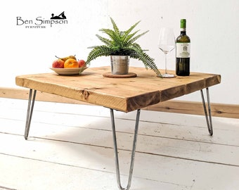 Rustic Coffee Table With Industrial Hairpin Legs Handcrafted Using Solid Wood | 45cm Height | Ben Simpson Furniture