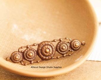 1 Vintaj Natural Brass 15x53mm Rowed Medallions Connector (SB053)