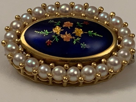 Antique 18k gold, enamel and pearls brooch