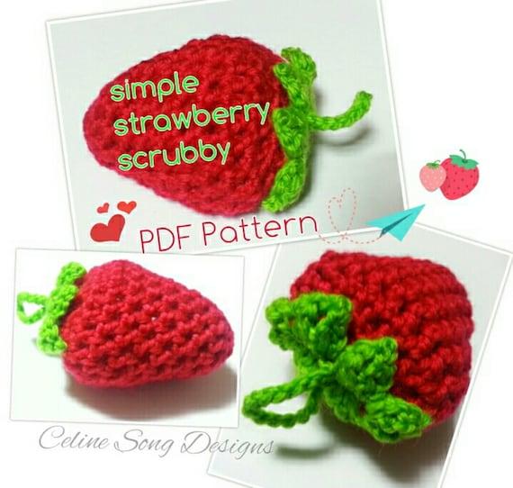 Strawberry Scrubbies Crochet Pattern Diy Pdf Simple Etsy