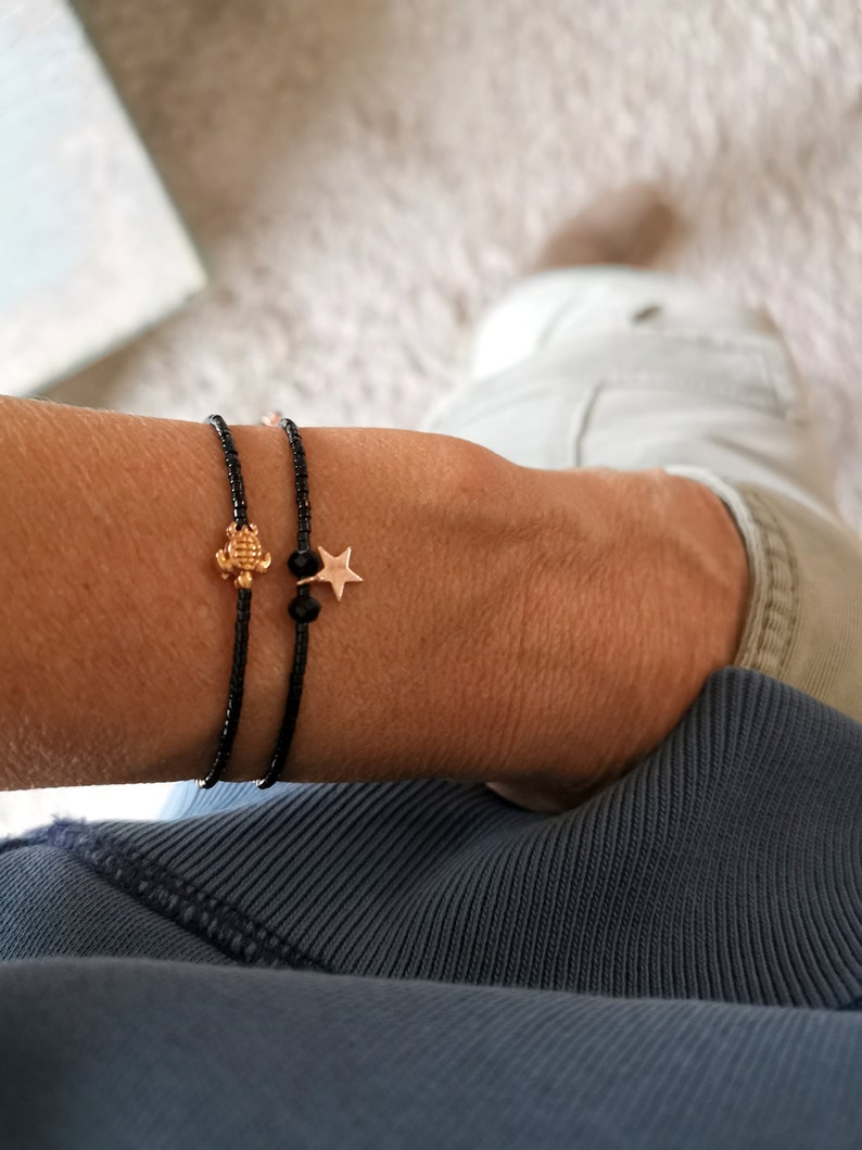 Bracelet black Miyuki turtle delicate rose gold colors