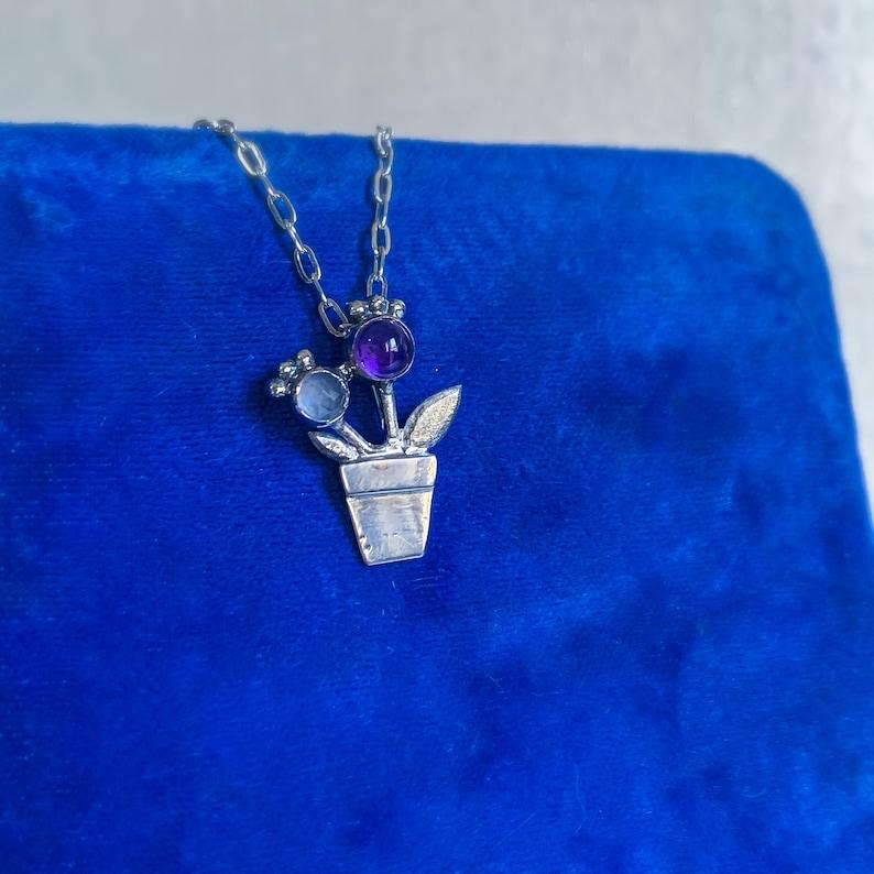 sterling silver necklace gift for her floral necklace rose quartz necklace Amethyst flower necklace rose quartz jewelry flower jewelry