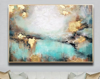 Awake my Soul - Teal Gold White Brown Abstract Painting Original, Large Size, Gold Leaf, Sky, Living Room Art, Wall Art Decor