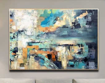 Abstract Painting Original, Sea Sky Landscape, Teal Grey Black Painting, Large Size, Minimalist Art, Wall Art Decor, Textured Painting