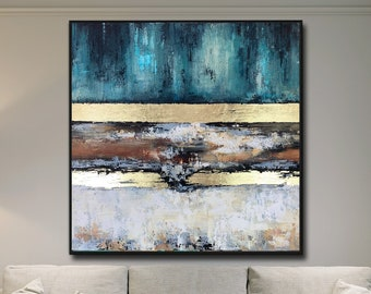 Perfect Balance - Abstract Painting Large Original Gold Leaf Soft Earth Colors Painting Modern Textured Palette Knife by Lana Guise