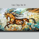 Large Running Horse Original Painting Textured Contemporary Modern Palette Knife Painting by Lana Guise