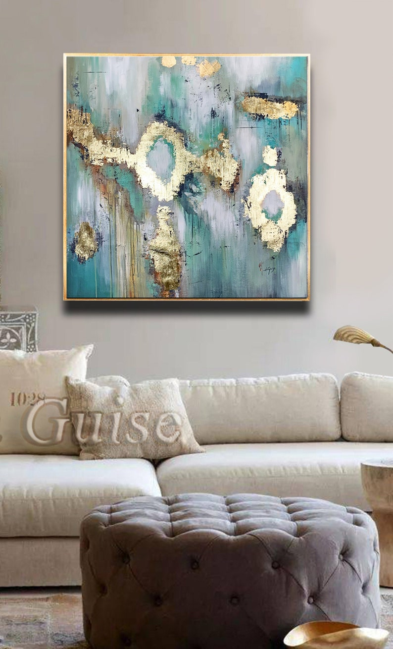 Enigma  Teal Gold White Creme Abstract Painting Original image 0