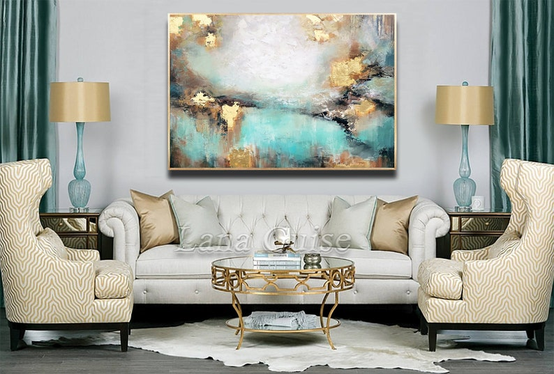 Awake my Soul  Teal Gold White Brown Abstract Painting image 0