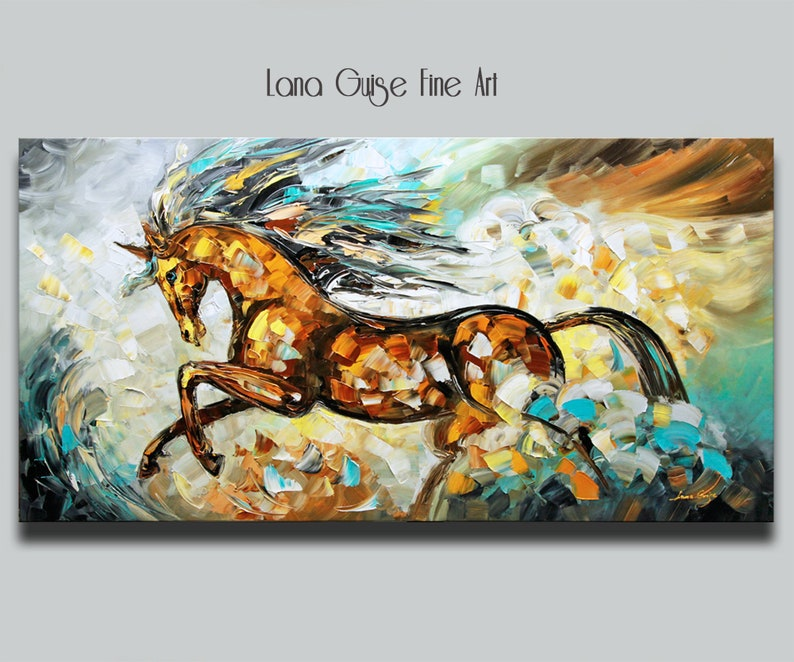 Large Running Horse Original Painting Textured Contemporary image 0