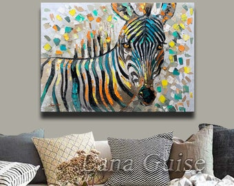 Abstract Painting Animal Zebra Painting ABSTRACT ORIGINAL Painting Contemporary Modern Textured Palette Knife  by Lana Guise