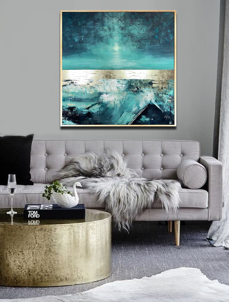 Soft Dance  Abstract Painting Square Large Painting Teal image 0