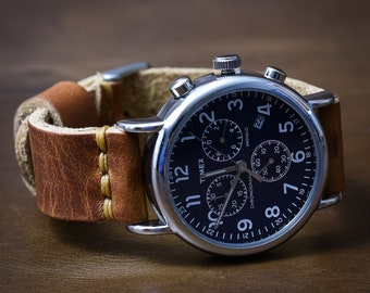 1de35b7cc Leather Watch Strap, 18mm 20mm 22mm 24mm, Man Gifts, Full Grain Leather  Watch Band, Large Leather Watch Strap