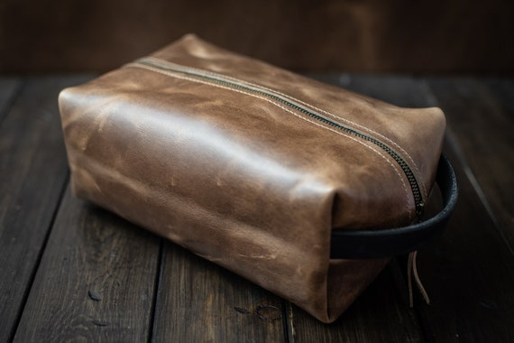 Dopp kit Leather Shaving Kit Mens Toiletry Bag Leather   Etsy 4a18b4766d