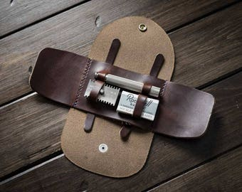 Safety Travel Razor Case, Razor Cover, Fits Merkur & Others - Chocolate