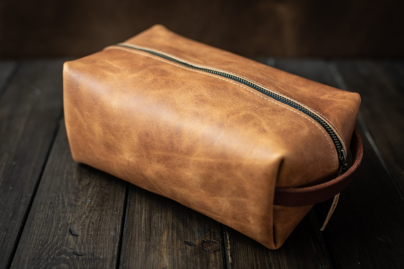 77df4f393444 Dopp kit Leather Shaving Kit Mens Toiletry Bag Leather