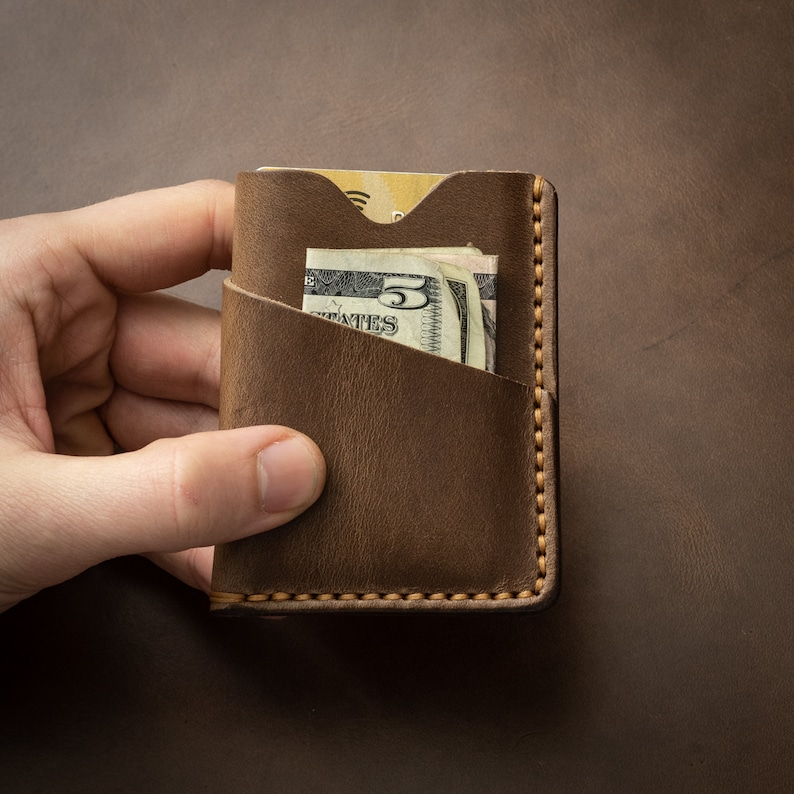 Mens Leather Wallet FREE Personalization Minimalist Brown Slim Purse Handmade