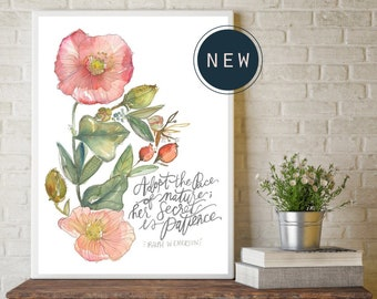 Adopt the Pace of Nature, her secret is patience - RW Emerson quote // Fine Art Print by True Cotton