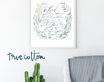 The Lord Bless you and Keep you - Numbers 6:24-26 Watercolor Fine Art Print by True Cotton