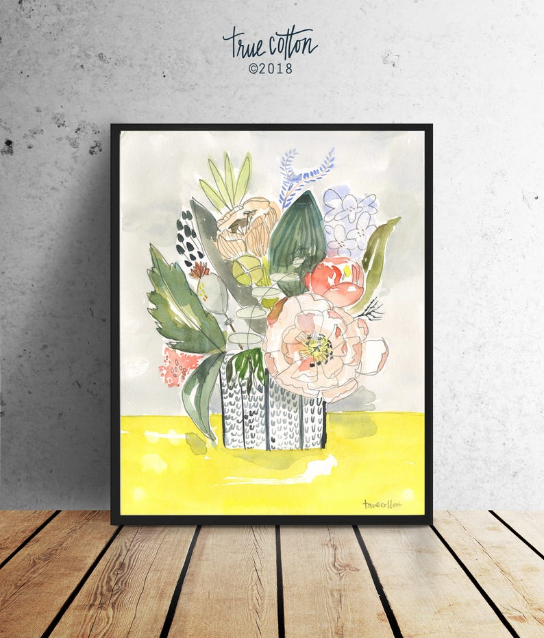 Watercolor Vase and Flowers Oh Happy Day Bouquet Art PRINT image 0