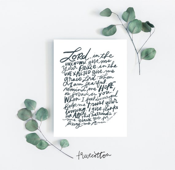 Peace Prayer Black and White Instant Download Printable Art
