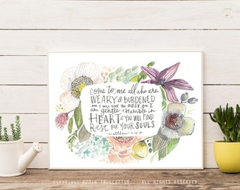 Come to me Floral Watercolor Matthew 11 Instant Download Printable Art